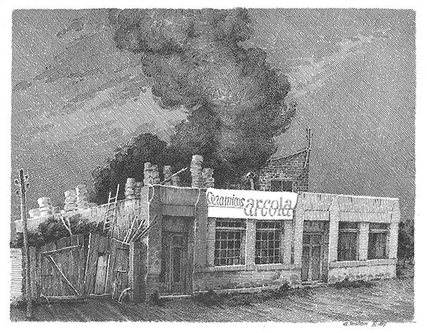 Grabado de la primera fábrica de Cerámicas Arcola por Antonio Testón