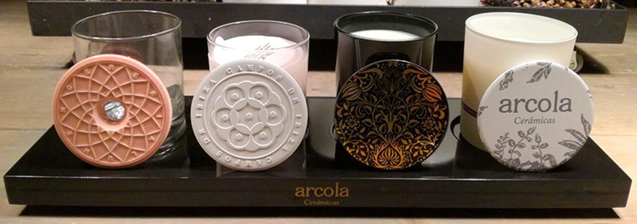 Tapas cerámicas para velas perfumadas