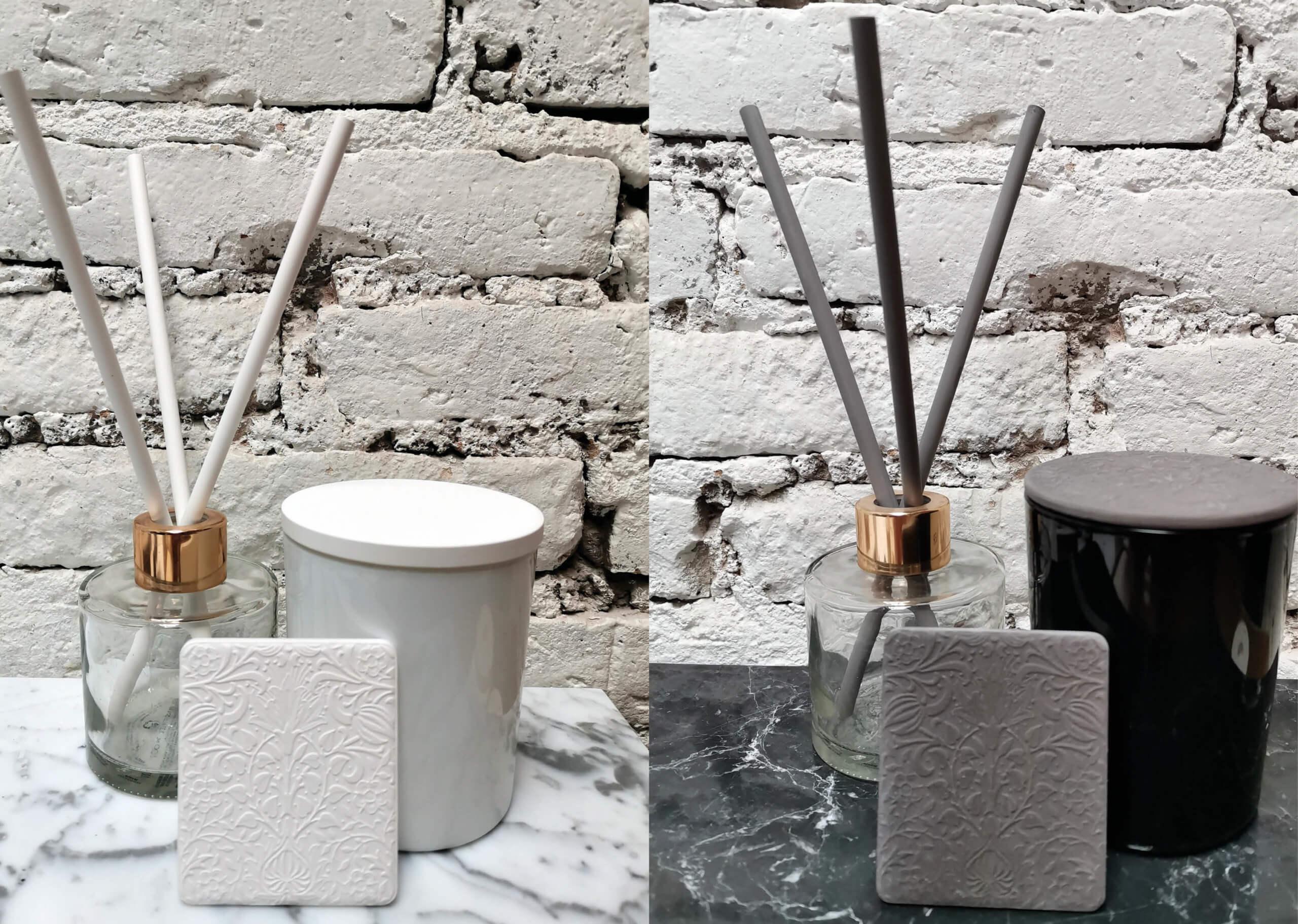 Productos de cerámica perfumada para el ambiente en blanco y negro